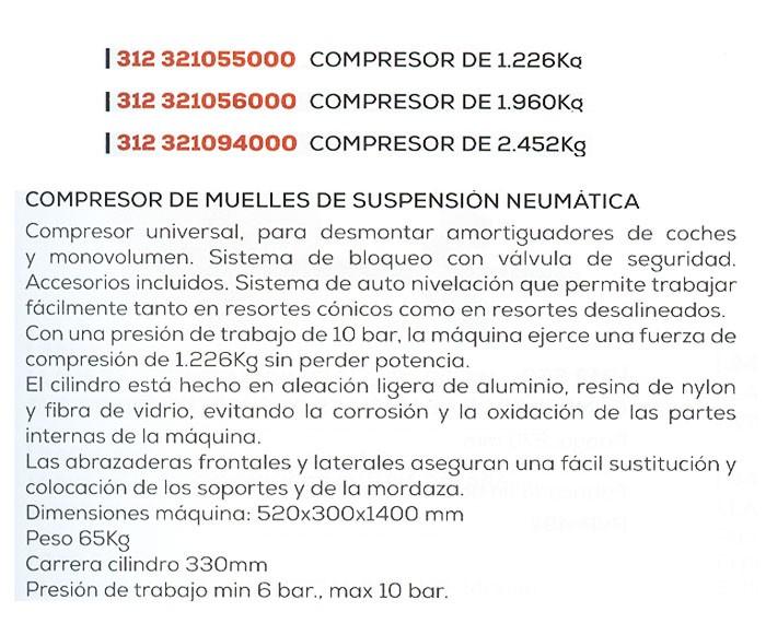 Comprimidor Muelles  vehículos Neumático - potencia -1220 kG/ 1960 kG/ 2452,kG
