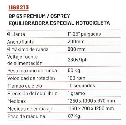 Equlibradora de ruedas especial MOTOCICLETAS, BP63,Premium - Osprey - BRIGHT