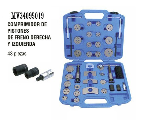 Comprimidor de pistones de frenos derecha / izquieda 43 pz.
